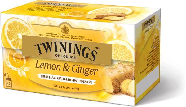 Twinings Lemon & Ginger Tee, 25 Teebeutel (37,5 g)