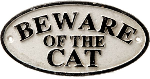 Schild Beware Of The Cat, Gusseisen