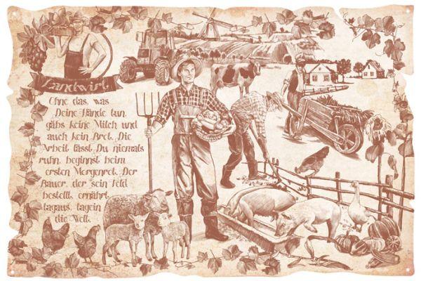 Blechschild Landwirt