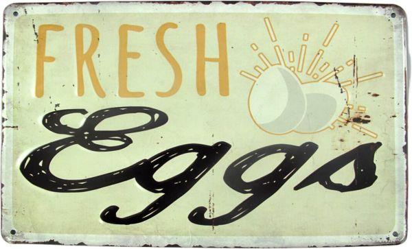 Blechschild Fresh Eggs