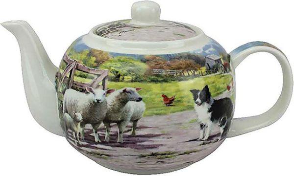 Teekanne Border Collies mit Schafen