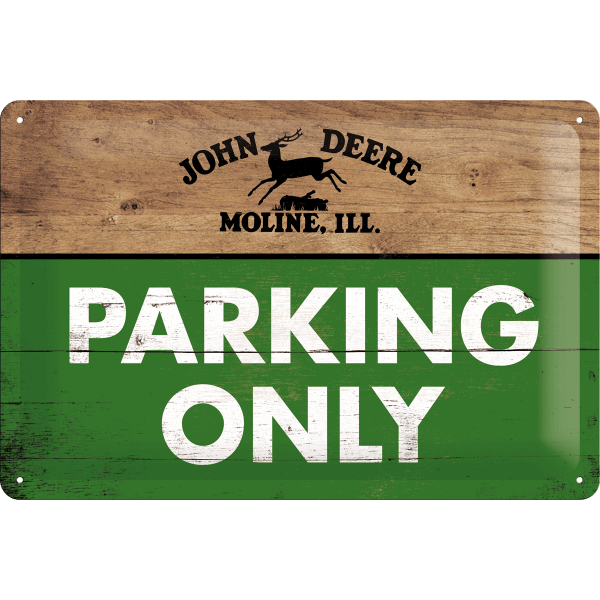 Blechschild John Deere Parking Only, quer