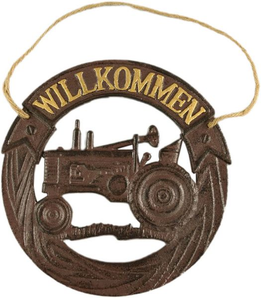 Wandrelief Willkommen Traktor, Eisen