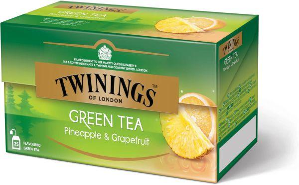 Twinings Green Tea Pineapple & Grapefruit, Grüner Tee Ananas & Grapefruit, 25 Teebeutel (40 g)
