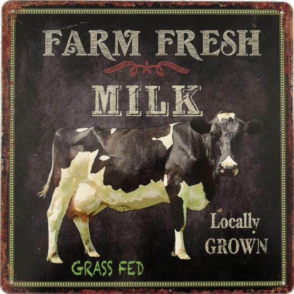 Blechschild Farm Fresh Milk