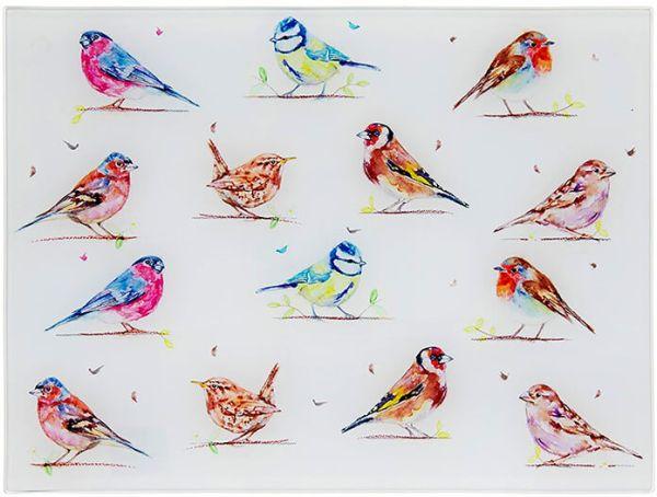 Arbeitsflächenschutz und Schneidebrett Birds - Vögel, Glas