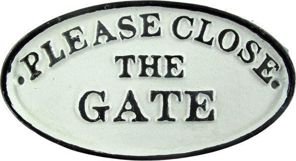 Schild Please Close The Gate, Eisen