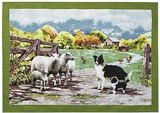 Geschirrtuch Border Collies mit Schafen