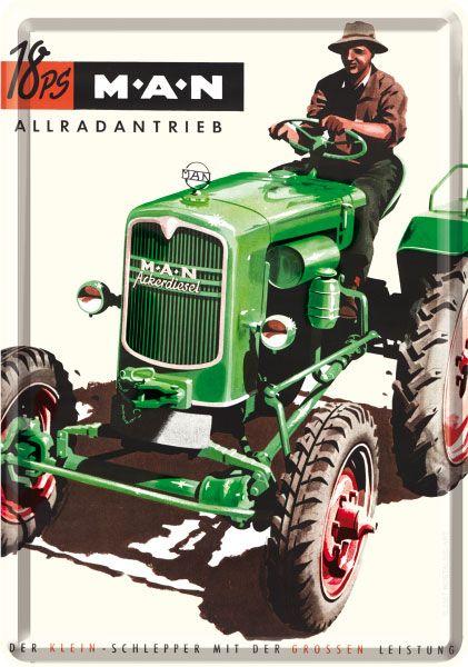 Blechpostkarte MAN Traktor