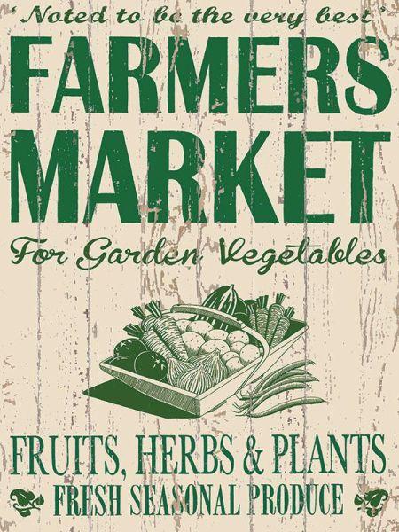 Blechschild Farmers Market XXL