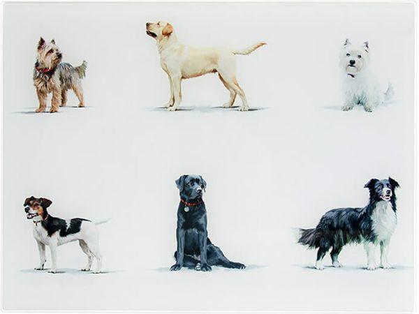 Arbeitsflächenschutz und Schneidebrett Hunde, Glas