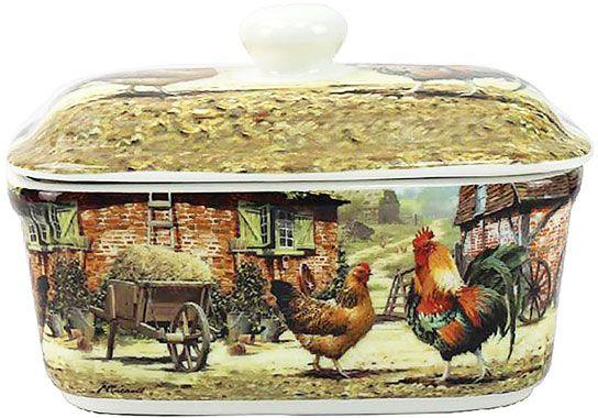 Butterdose Hahn und Henne