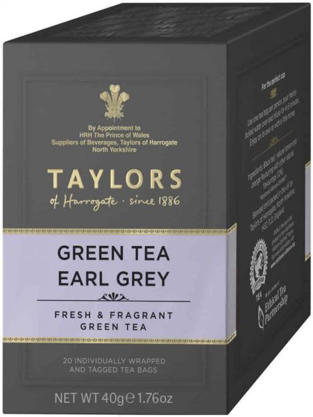 Taylors of Harrogate Green Tea Earl Grey, 20 Teebeutel (40 g)