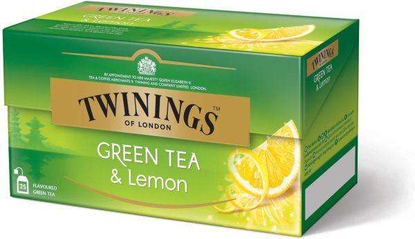 Twinings Green Tea & Lemon, Grüner Tee Zitrone, 25 Teebeutel (40 g)