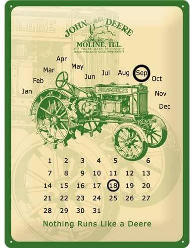 Blechschild Kalender John Deere, XL