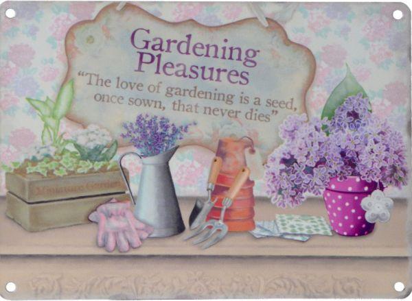 Blechschild Gardening Pleasures